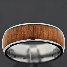9mm Tungsten Brown Wood Inlay Dome Top Men's Jewelry Wedding Band