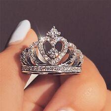 Romantic Princess Crown Heart Bridal Wedding Ring 925 Silver Jewelry Gift Sz5-10