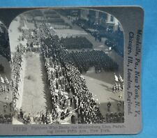 WW1 Stereoview Photo Fighters WHo Broke Hindenburg Line Parade New York Keystone