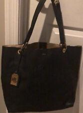 Ralph Lauren Tote Bag Shopper Handbag Black Faux Leather