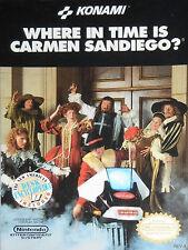 WHERE IN TIME IS CARMEN SANDIEGO Nintendo NES Game Cartridge
