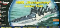 HMS MONTGOMERY  WWII ROYAL NAVY DESTROYER (ex USS WICKES) 1/400 MIRAGE RARE!