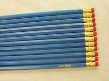 "12 Hexagon ""Bright Blue"" Personalized Pencils"