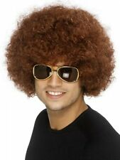 Men's Brown 1970's Disco Funky Afro Wig Unisex Smiffys Fancy Dress Costume Stag