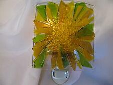 Handcrafted Art Glass, Night Light w/Brilliant Sun Design - yellow & green glass