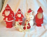 VINTAGE CELLULOID SANTA SNOWMAN ORNAMENT CANDY CONTAINER RATTLE LOT OF 4