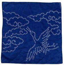 vintage scarf indigo bird JAPAN handkerchief dyed blue white traditional cotton