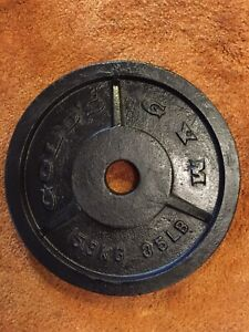 "VINTAGE GOLDS GYM 35Lb BARBELL WEIGHT PLATE AUTION IS FOR (1)Olympic 2"" HOLE"