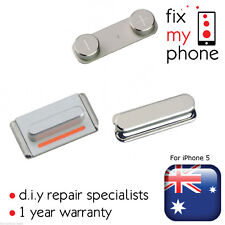 Silver 3 in 1 (Side Volume Mute Switch Top Power Button Metal) Pack for iPhone 5