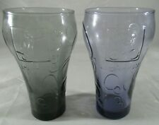 2012 Coke Collectors Glasses from London Games Cycling and Soccer. Purple/Black.