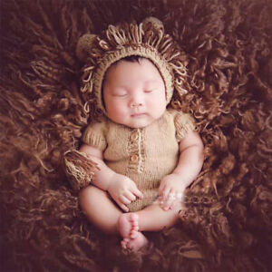 Newborn props for photography baby photo shoot infant crochet lion hat costume