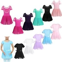 Girls Ballet Dance Dress Kids Cotton Leotard Chiffon Skirt Gymnastics Costumes