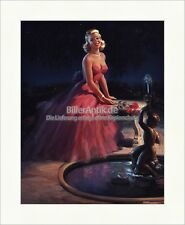 Girl in Evening Dress Glamour Art Frahm Rose Brunnen Kunstdruck Pin Up 074