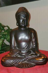 Buddha Meditating, Black Buddhist Statue Garden Decor, Zen Garden Antique Finish