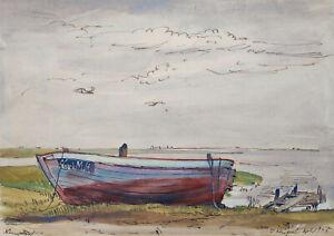 Kliefert, Erich(1893Berlin–1994Stralsund)Fischerboot am Ufer/Neuendorf/Hiddensee