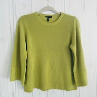 Eileen Fisher 100% Merino Wool Sweater Bell Sleeve Green Top Petite Small SP