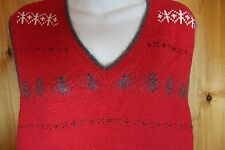ELISABETH LIz Claiborne Womens 2X Red Sweater Vest Holiday Mohair Trim