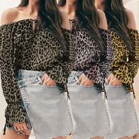 Women's Leopard Off Shoulder T Shirt Ladies Long Sleeve Loose Blouse Tops Tee UK