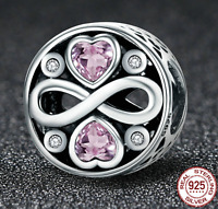 Genuine 925 Sterling Silver Our Endles FOREVER LOVE CZ Heart charm + free pouch