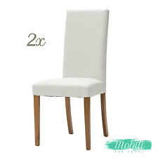 Sedia Moderna in Ecopelle color Bianco fusto Rovere - 2 Pezzi SPEDIZIONE GRATIS