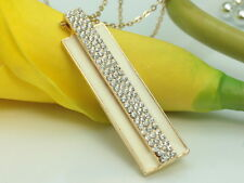 """beige rectangle clear crystal pendant gold plate 29"""" long sweater necklace F64-2"""