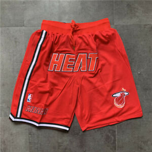 Men's Miami Heat Shorts Red Stitched