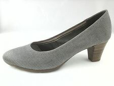 BATA Grey Womens HEELS Pumps PERFORATED Leather FreeFlex Shoes US 8.5 EU 39 NWOB