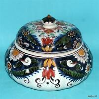 ANTIQUE DUTCH MAKKUM HOLLAND DELFT FRISIAN FOLK ART POLYCHROME COVERED BOWL