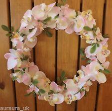 Flores Artificiales de Seda Rosa o Blanco Orquídea Redondo Corona Hogar Boda
