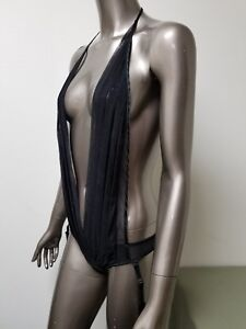 NWOT Seduction By Frederick's Of Hollywood 1pc Pleated Bodysuit With Garterbelt