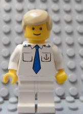 LEGO Minifig Cruise SHIP CAPTAIN Officer Sailor Gold Anchor on Torso Blond Hair