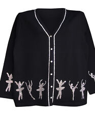 2X 22/24 CHRISTMAS NUTCRACKER BALLET ART DESIGN TERAZZO WOMEN'S CARDIGAN SWEATER