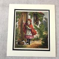 1865 Antik Chromolithographie Viktorianisch Kind Girl Kleines Rotkäppchen Druck