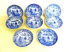 SET 8 VICTORIAN BLUE WILLOW TRANSFERWARE BERRY DISHES WEST RIDGWAY SEMI CHINA