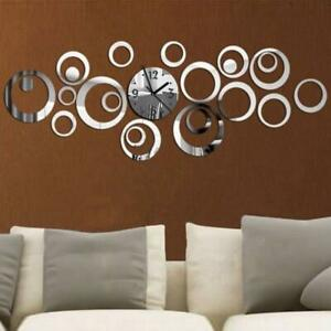 Mirrored Wall Clock Modern Round Glass Silver Large Hang Watch Room Decor Gift