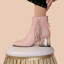 Womens Ladiesa Fashion Leather Tassel Crystal Heel Booties Ankle Boots Shoes MMQ