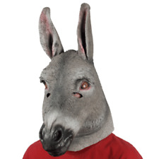 ADULT LATEX DONKEY MULE ZOO FARM ANIMAL COSTUME RUBBER MASK GREY MENS WOMENS