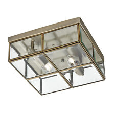 Searchlight 2 Light Brass Clear Glass Box Flush Ceiling Mount Fitting Chandelier