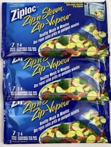 3 X Ziploc Zip N Steam Cooking Bags Microwave 7 Bags Total 21 Bags Medium