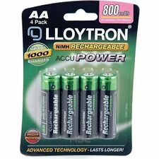 Lloytron NIMH AccuPower AA Rechargeable Battery - AA 800mAh 4 Pack (B011)