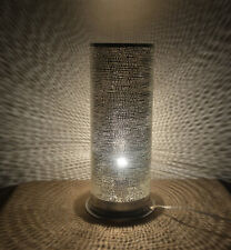"""17"""" Height Egyptian Moroccan Pinholes Silver Plated Brass Table Lamp Light"""