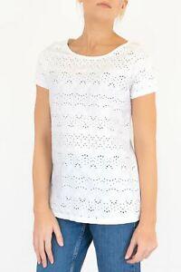 Womens Fat Face T-Shirt White Cotton Sudbury Broderie Short Sleeve Top