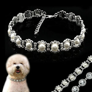 Bling Crystal Rhinestone Pearl Dog Necklace Pet Jewelry Collar Fashion White