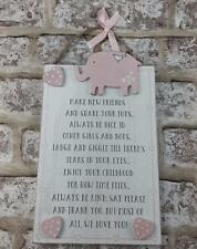 Vintage Style Wooden Baby Girl Wall Plaque Gift - Baby Rules CG1305P