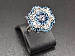 Handmade 925 Sterling Silver Womens Ring Size 6 White Topaz Turquoise
