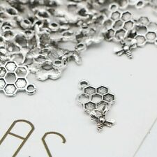 5 Bee Charms Honeycomb Pendants Antiqued Silver Dangle Set Insect Spring