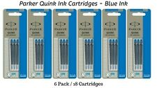 18 x Parker Quink Ink Cartridges For All Parker Fountain Pens, Blue Cartridge
