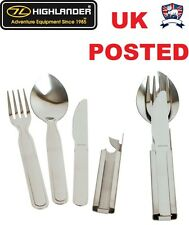 BRITISH ARMY & NATO SPEC STAINLESS STEEL KFS KNIFE FORK SPOON CAN OPENER SET