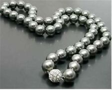"""Pretty 10mm Gray South Sea Shell Pearl Round Beads Necklace 18"""""""