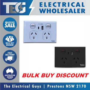 TESLA Double Twin Power Point GPO 10A USBC Outlets 5V 3.5A Fast Charge USB C